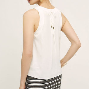 Anthropologie MAEVE White Lace Up Back Crepe Tank